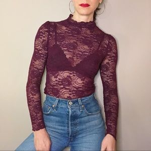 Intimately free people purple lace high neck top S